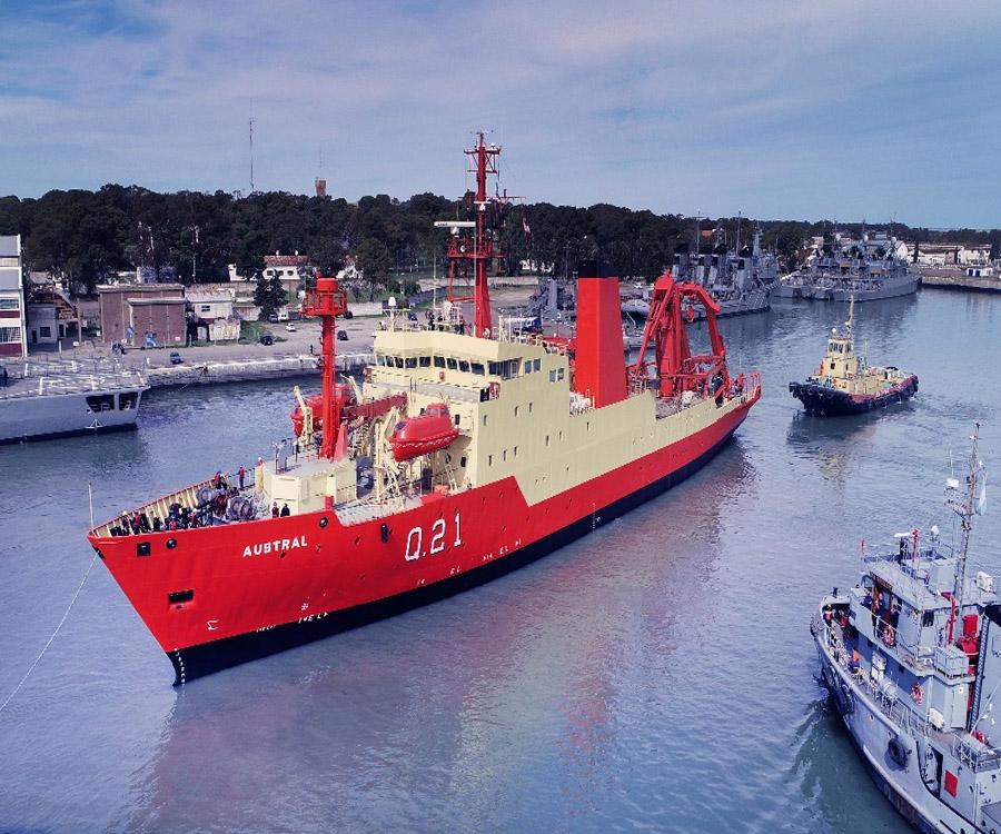 El buque oceanográfico ARA Austral finalizó la primera parte de sus reparaciones generales