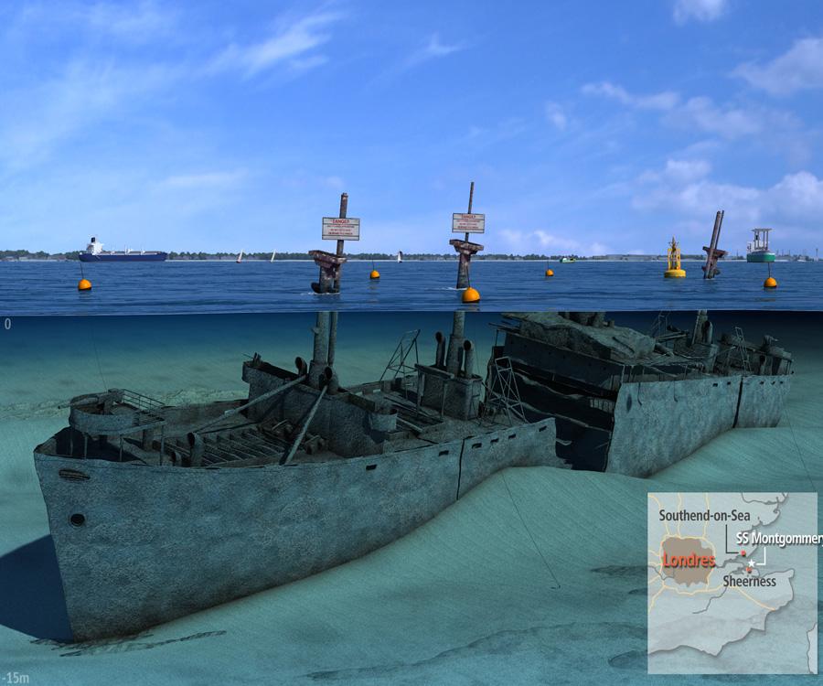 Un barco encallado desde 1944 en el estuario del Támesis y lleno explosivos