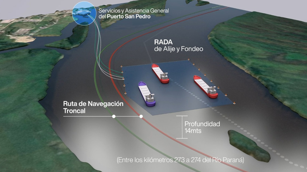 Nueva rada operativa del puerto de San Pedro en el canal troncal del Paraná